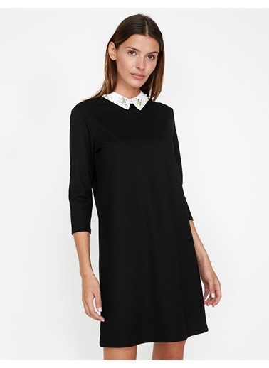 Koton Gömlek Yaka Elbise Siyah